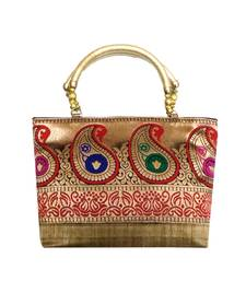 Buy Raw Silk Handbag with Traditional Mango Border (Gold) handbag online