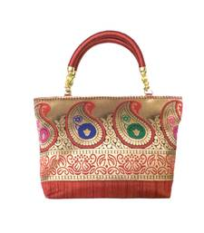 Buy Raw Silk Handbag with Traditional Mango Border (Maroon) handbag online