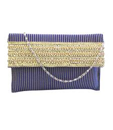 Buy Raw Silk thread work Clutch with rose gold and pearl lace (Blue) clutch online