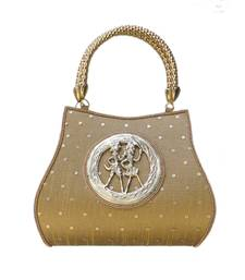 Buy Raw Silk Handbag with Round Tribal Brooch (Dark Gold) handbag online