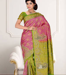 Buy Pink  -  Green embroidered silk saree with blouse silk-saree online