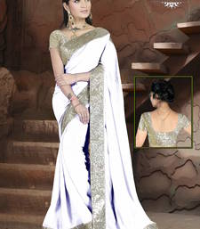 Buy white plain georgette designer saree with blouse katrina-kaif-saree online