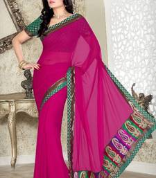 Pink Faux Chiffon Saree with Blouse shop online