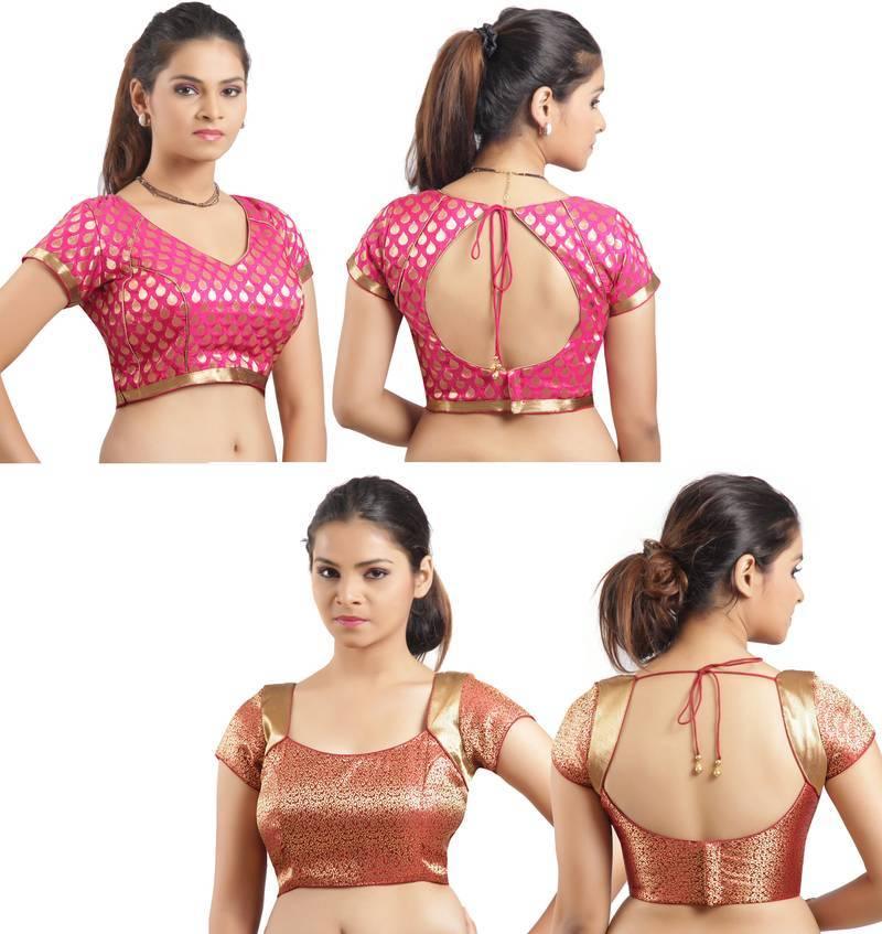 Buy Pink Maroon Brocade Padded Combo Blouse Online