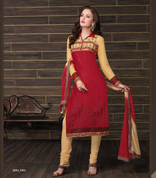 Buy Styles Closet Red embroidered cotton semi-stitched salwar with dupatta cotton-salwar-kameez online