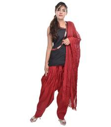 Buy Maroon Cotton Patiala Salwar with Dupatta readymade-suit online