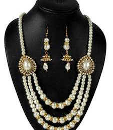 Buy Pearl 3 Line pendant Necklace Set necklace-set online