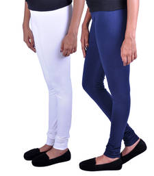 Buy Combo Pack of 2 Cotton , Lycra Leggings- White & Navy Blue legging online