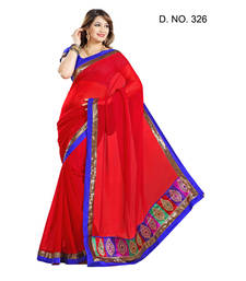 Buy RED MAROON embroidered chiffon saree with blouse chiffon-saree online
