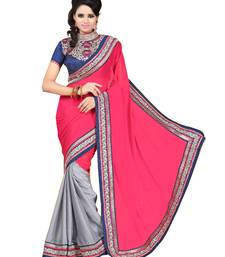 Buy Magenta embroidered chiffon saree with blouse chiffon-saree online