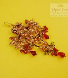 Buy Polki Multi Red Drops Gold Plated Passa Side Tikka Jhoomer maang-tikka online