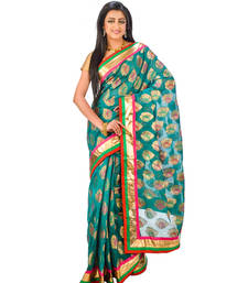 Buy Red  and  Green hand woven silk saree with blouse chanderi-saree online