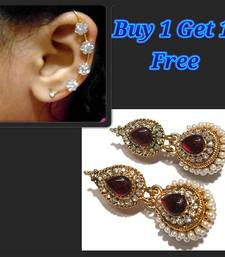 Buy Marron Kundan Pearl Jhumka and Free Earr Cuff jewellery-combo online