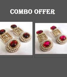 Buy Buy 2 Maroon and Dark Pink Pearl Earring jewellery-combo online