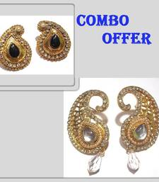 Buy Buy 2 Black and White Stone Polki Earring jewellery-combo online