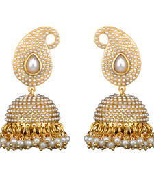 Buy Traditional Indian Bollywood Necklace Set Golden Pearl Polki Jhumka Earrings Set jhumka online