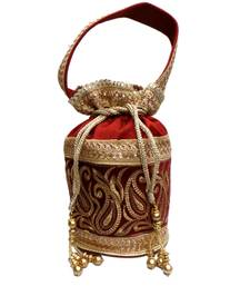 Buy Royal Raw Silk Batwa (Red) potli-bag online