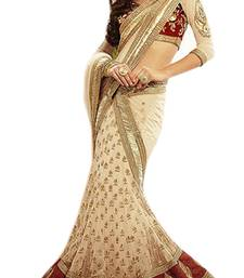 Buy Cream Embroidered net saree with blouse lehenga-saree online