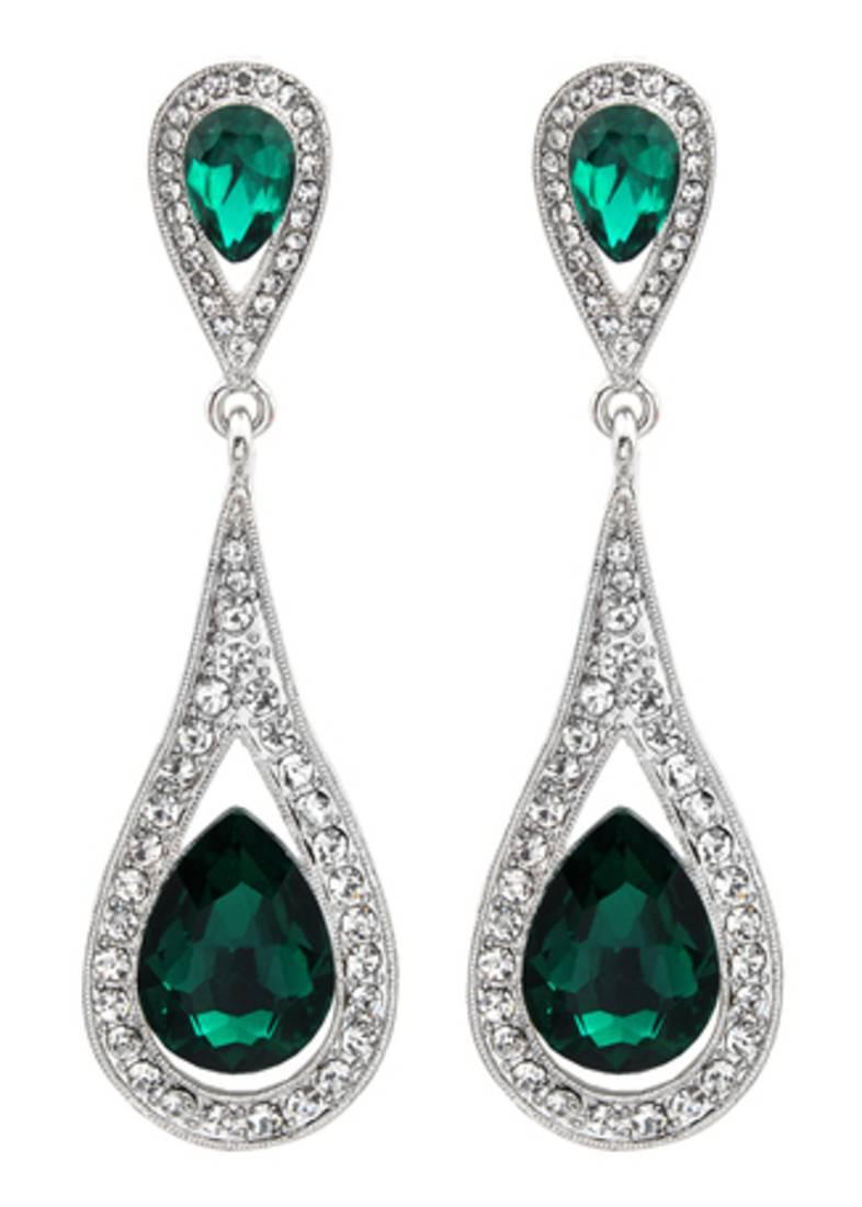 Buy Silver Green Chandelier Earring for women. Online