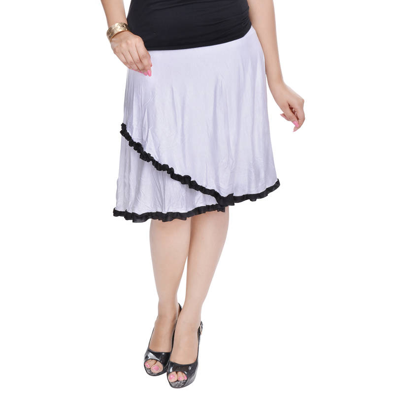buy white knee length cotton lycra flair skirt