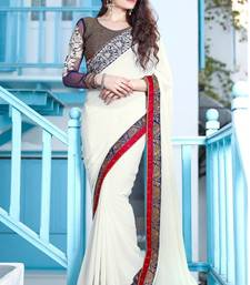 Buy White embroidered Georgette saree with blouse party-wear-saree online