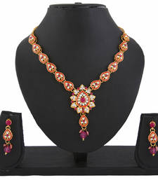 Buy Kundan Pink Indian Bollywood Pendant Necklace Earrings Set for Women necklace-set online