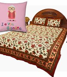 Buy Jaipuri Double Bedsheet Set n Printed Cushion Gift gifts-for-mom online