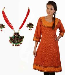 Buy Exclusive Printed Orange Cotton Kurti Mothers Day gifts-for-mom online