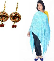 Buy Paisley Turquoise Pure Kashmiri Stole Mothers Day gifts-for-mom online