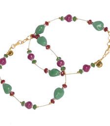 Buy Rajasthani Red n Green Ethnic Brass Payal Anklet anklet online