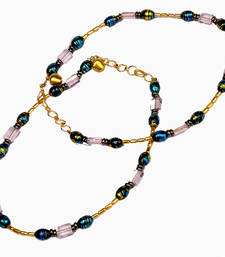 Buy Jodhpuri Golden Blue Designer Brass Payal Anklet anklet online