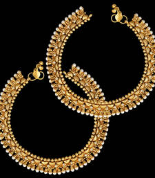 Buy Ethnic Indian Bollywood Jewelry Set Pearl Polki Golden Anklet Payal Set anklet online