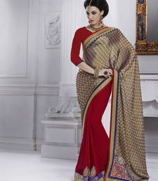 Buy Gold embroidered jacquard saree with blouse party-wear-saree online
