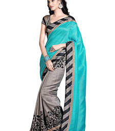 Buy Sea_Green and Grey printed art_silk saree with blouse bhagalpuri-silk-saree online