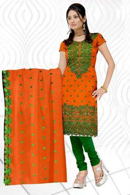 Buy Sihiri Orange Banaras cotton Silk Dress Material Punjabi Suit