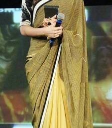 Buy Yellow embroidered Chiffon saree with blouse deepika-padukone-saree online