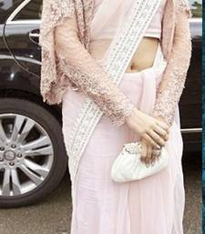 Buy Cream embroidered Net saree with blouse sonam-kapoor-saree online
