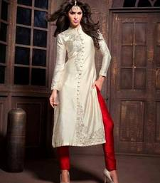 Buy Cream embroidered silk Semi stitched salwar with dupatta party-wear-salwar-kameez online
