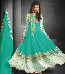 Buy blue embroidered georgette Semi stitched salwar with dupatta eid-sarees-dress online