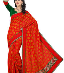 Buy Red plain saree with blouse party-wear-saree online
