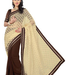 Buy Brown and Beige plain saree with blouse party-wear-saree online