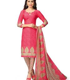 Buy Pink printed Crepe unstitched salwar with dupatta dress-material online