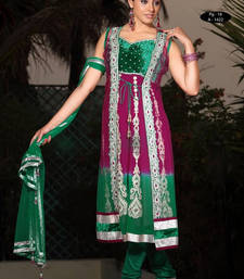 Buy Green embroidered Velvet stitched salwar with dupatta readymade-suit online