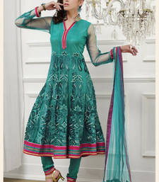 Buy Green embroidered Net stitched salwar with dupatta readymade-suit online