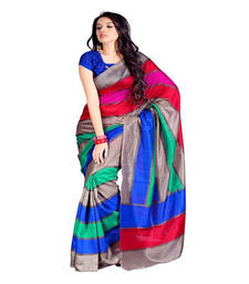 Buy multicolor printed silk saree with blouse bhagalpuri-silk-saree online