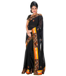 Buy BLACK embroidered chiffon saree with blouse other-saree online