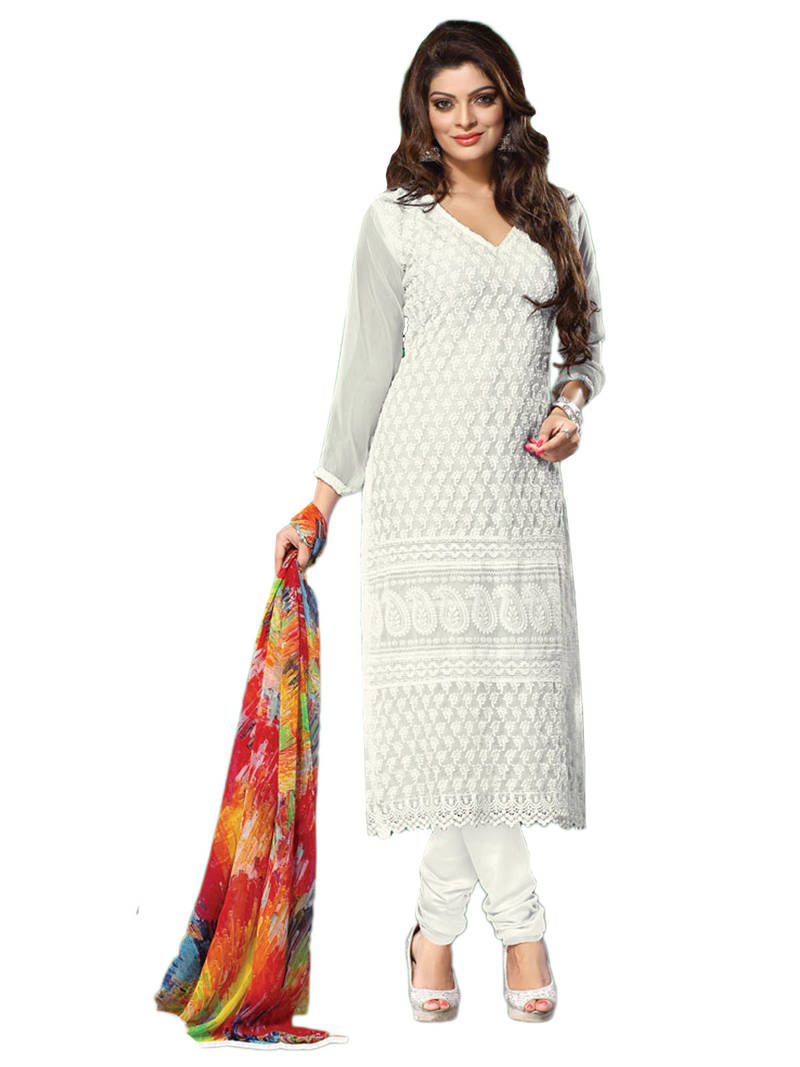 Buy off white embroidered chiffon unstitched salwar with for Wedding dress material online