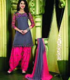 Buy Grey embroidered cotton semi stitched salwar with dupatta patiala-salwar online