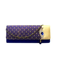 Buy Brocade Box Clutch with Traditional Brooch (Blue) clutch online