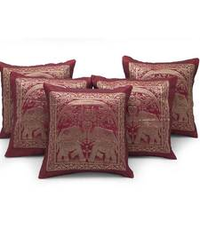 Buy Dual Elephant Design Maroon 5 Pc Cushion Cover Set other-home-furnishing online